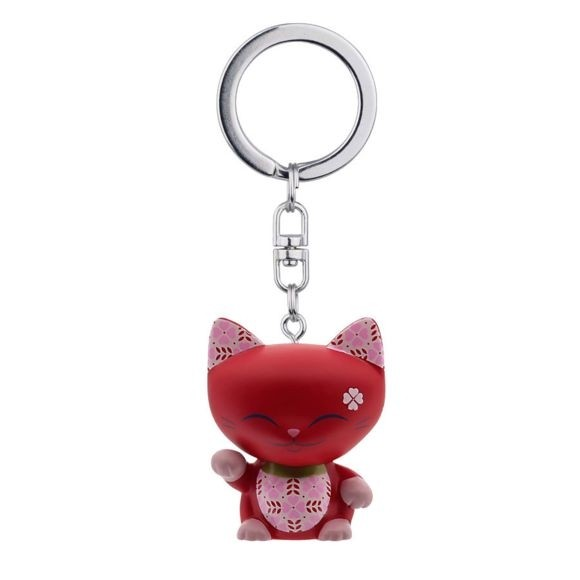 Mani the Lucky Cat Keychain - Red with Pink Paw