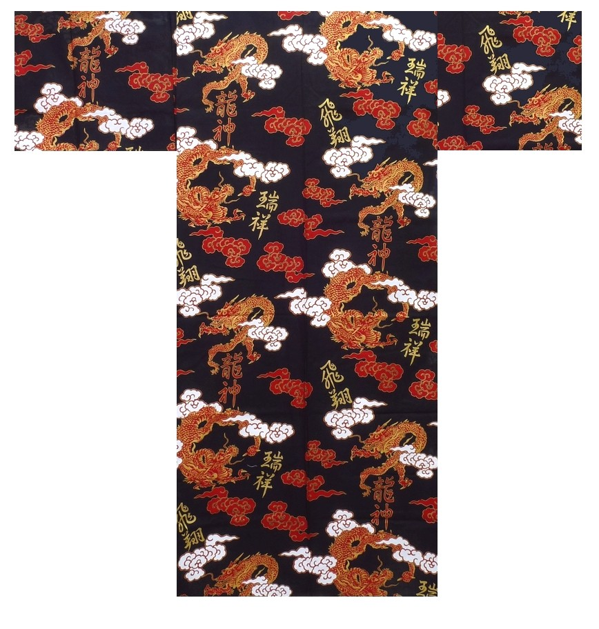 Mens Yukata - Dragon & Cloud - Red