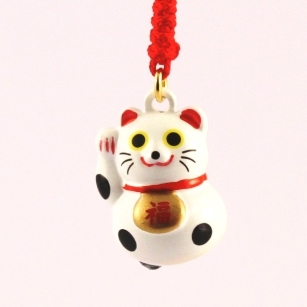 Maneki Neko Lucky Cat White Charm