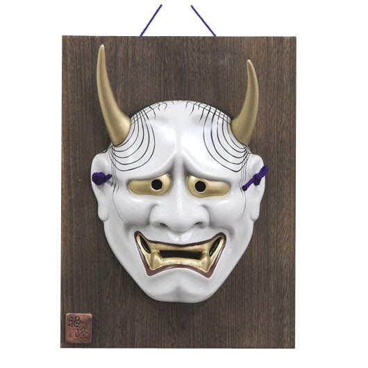 Kabuki Mask Hannya with Ornamental Wooden Plate