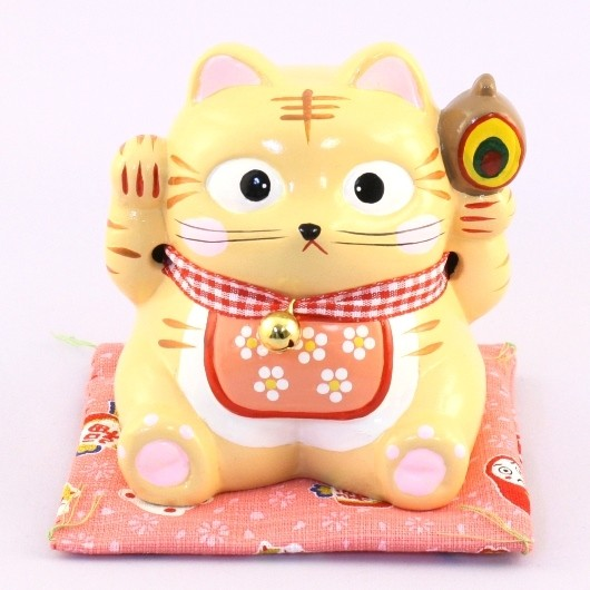 Maneki Neko - Lucky Cat Money Box Orange (M)