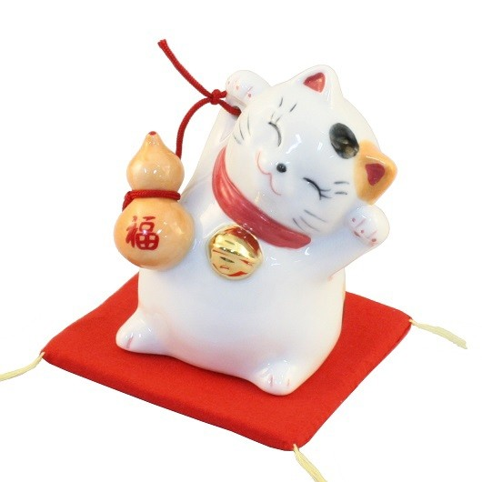 Maneki Neko White Lucky Cat with Gourd