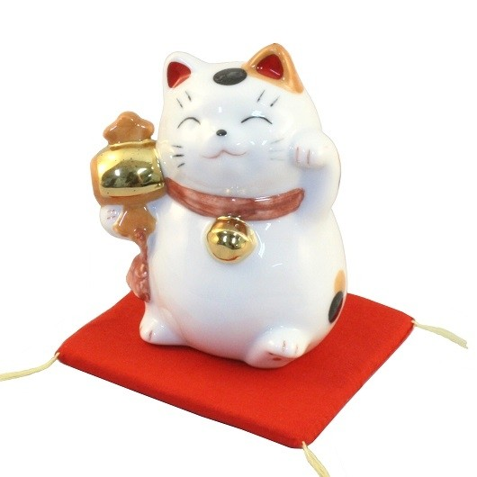 Maneki Neko White Lucky Cat with Mallet