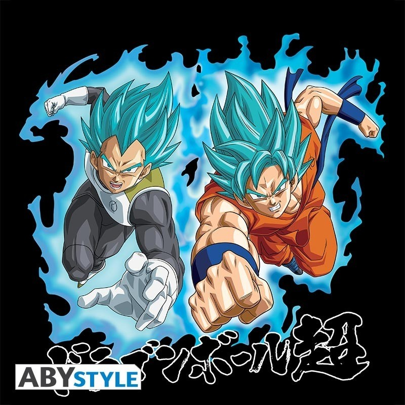 "T-SHIRT DRAGON BALL SUPER - ""Goku & Vegeta SS Blue"" Small"