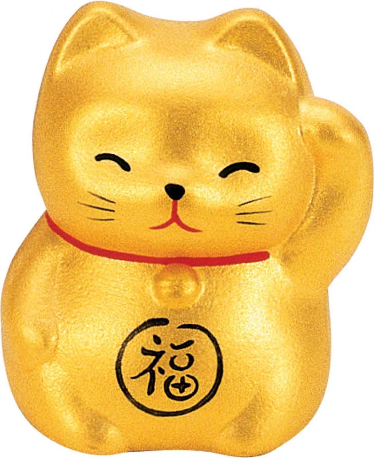 Maneki Neko - Lucky Cat - Gold - Wealth & Prosperity - 5.2 cm