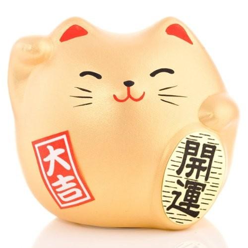 Maneki Neko - Lucky Cat - Gold - Wealth & Prosperity - 5.5 cm
