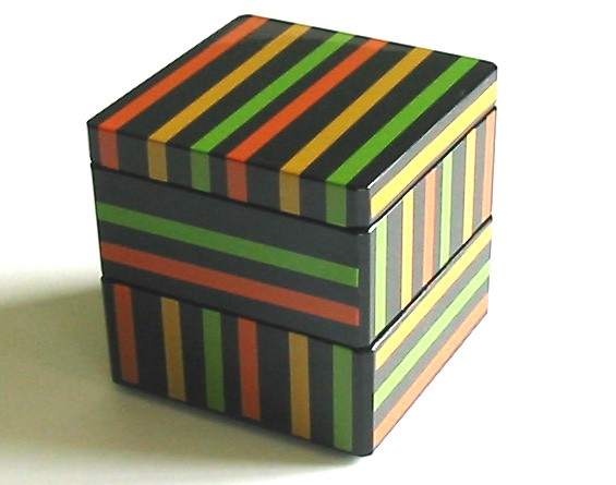 Lacquer Box - Double Tier Cube Box 1