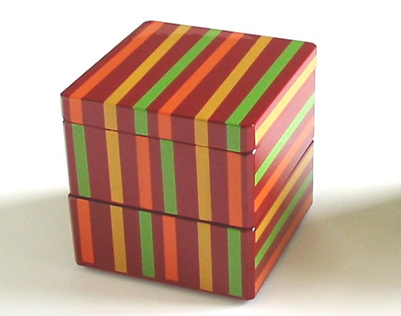 Lacquer Box - Double Tier Cube Box 2