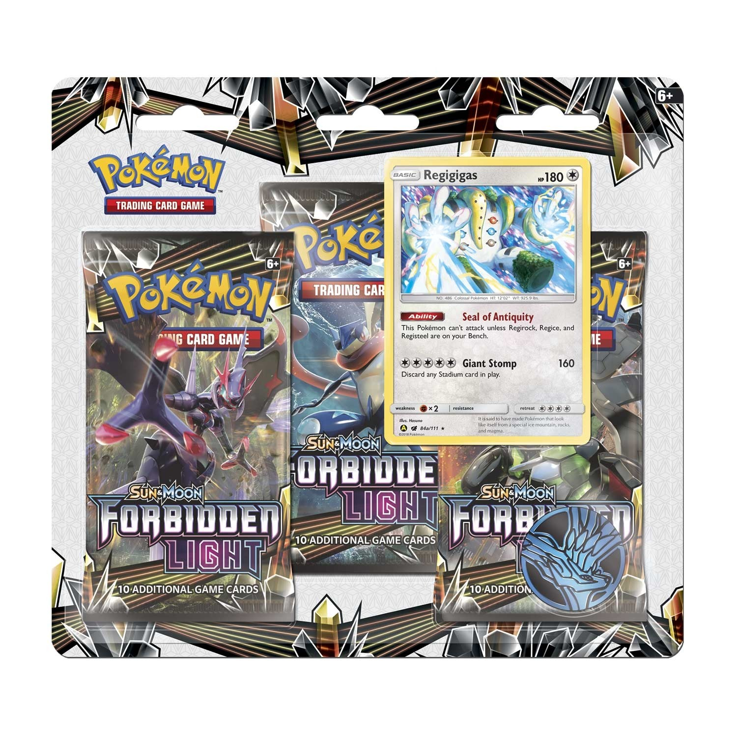 Pokemon TCG Sun & Moon #6 Forbidden Light 3 Booster Packs, Coin & Regigigas Promo Card