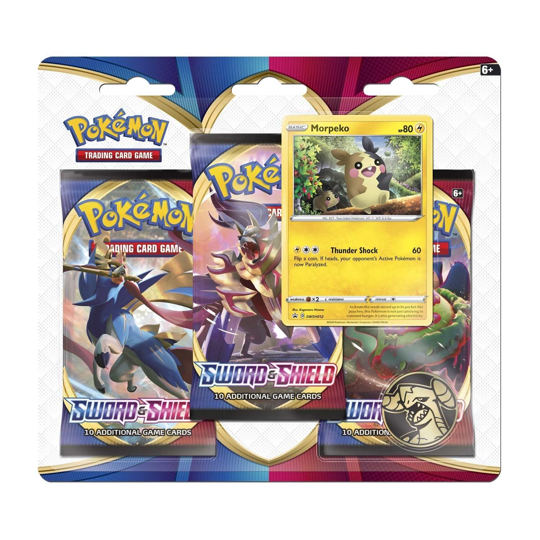 Pokemon TCG: Sword & Shield 3 Booster Packs, Coin & Morpeko or Galarian Ponyta Promo Card
