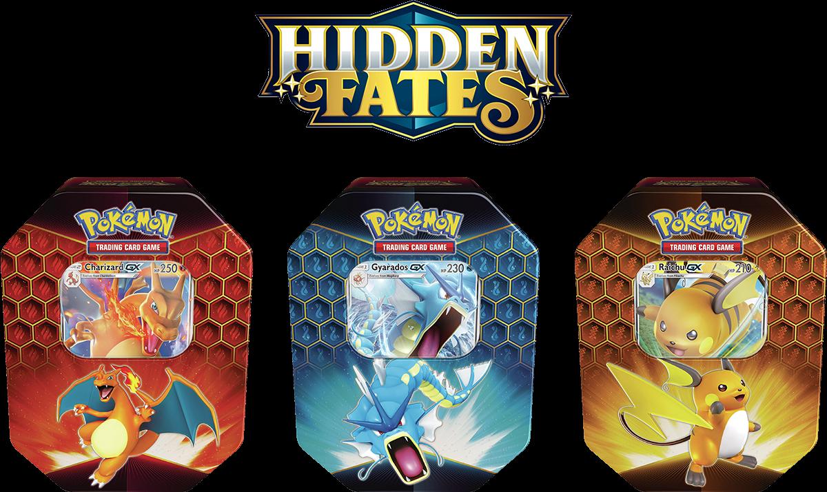 Pokémon TCG: Hidden Fates Tin (Charizard/Gyarados/Raichu)