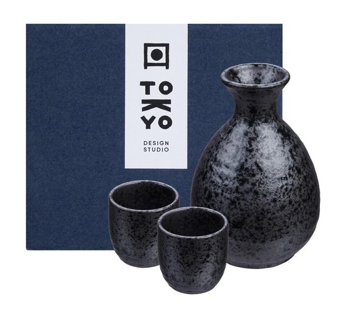 Sake Set 1:2 Kuro Tetsusabi