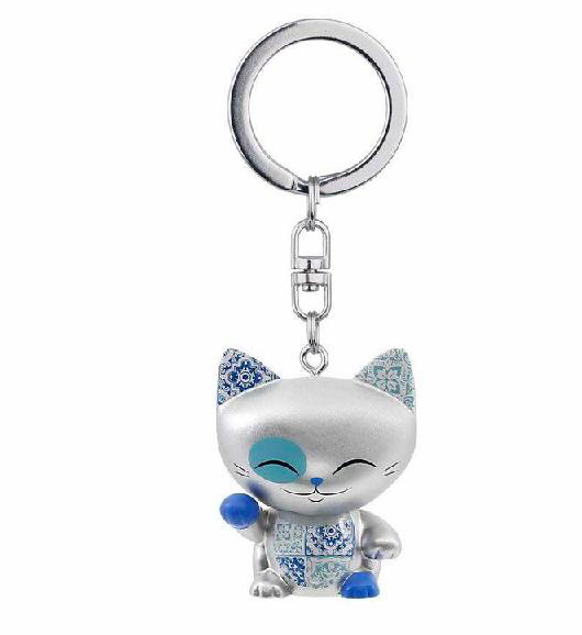 Mani the Lucky Cat Keychain - Silver with Blue/Silver Paw