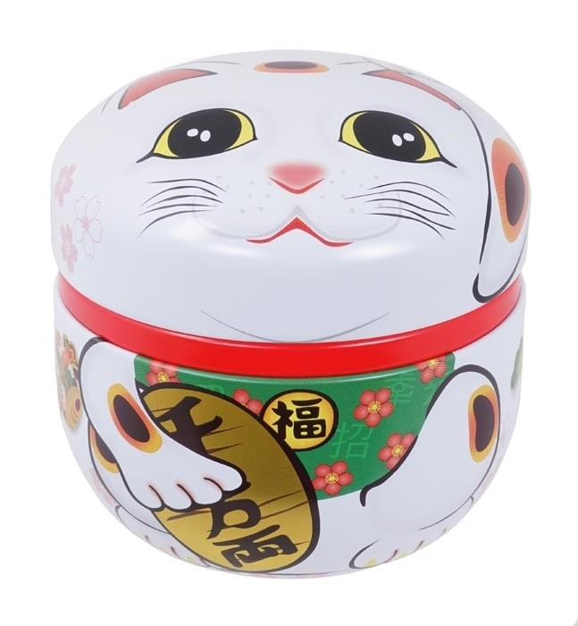 Tea Container Lucky Cat White