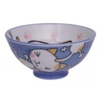 Kawaii Rice Bowl Blue Cat 10.5 x 5cm 150ml
