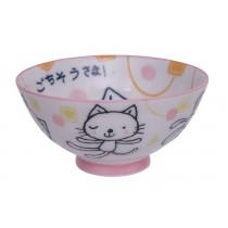 Kawaii Rice Bowl Gochisosama Pink Cat 10.5 x 5cm 150ml