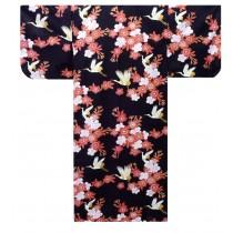 Ladies Yukata - Cherry Blossoms & Crane - Black