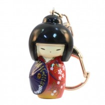 Kokeshi Doll Keyring Kasa Red