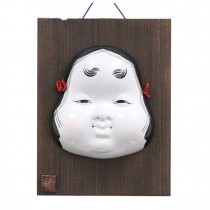 Kabuki Mask Okame with Ornamental Wooden Plate