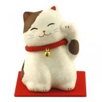 Maneki Neko - Lucky Cat White & Brown Calico with Bell