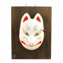 Kabuki Mask Fox with Ornamental Wooden Plate