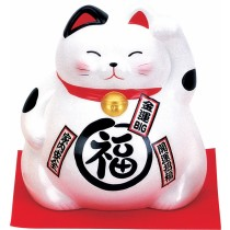 Maneki Neko - Lucky Cat - White - Purity & Hapiness - 21 cm