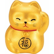 Maneki Neko - Lucky Cat - Gold - Wealth & Prosperity - 5.2 cm