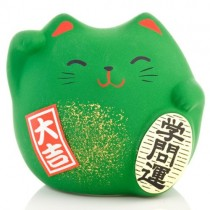 Maneki Neko - Lucky Cat - Green - Education & Studies - 5.5 cm