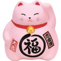 Maneki Neko - Medium Lucky Cat - Pink - Love - 9 cm