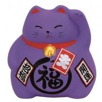 Maneki Neko - Medium Lucky Cat - Purple - Prosperity  & Opportunity - 9 cm