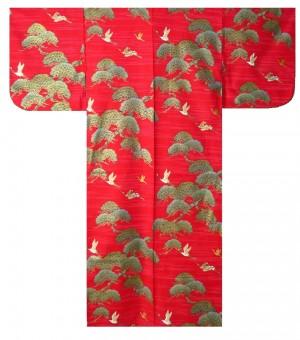 Ladies Yukata - Pine & Crane - Red