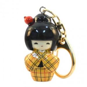 Kokeshi Doll Keyring Kasuri Yellow