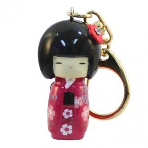 Kokeshi Doll Keyring Furisode Pink (Flower)