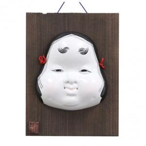 Kabuki Mask Okame with Ornamental Wooden Plate