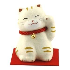 Maneki Neko - White Tiger Red Neckless with Bell