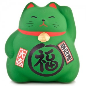 Maneki Neko - Medium Lucky Cat - Green - Education & Studies - 9 cm