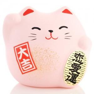 Maneki Neko - Lucky Cat - Pink - Love, Relashionship & Romance - 5.5 cm