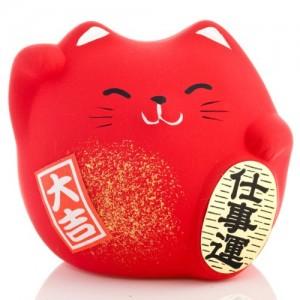Maneki Neko - Lucky Cat - Red - Protection from Evil & Illness - 5.5 cm