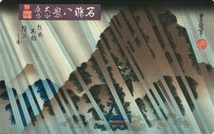Night Rain at Oyama Japanese Woodblock Print Ukiyo-e by Toyoshige A4 Photo Print on a Mount